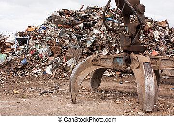 Scrap for recycling in steel making plan.