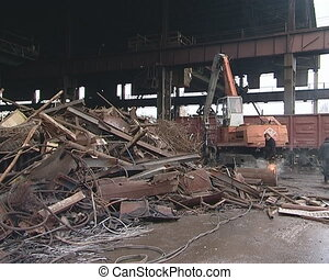 Scrap metal processing with special equipment. Metal...