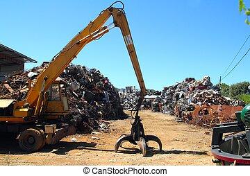 scrap metal scrap-iron junk outdoor with crane
