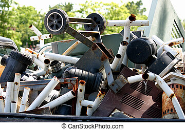 Scrap Metal - The flatbed of a truck full of scrap metal