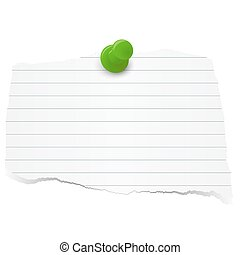 scrap of paper - white colored lined scrap of paper with pin...