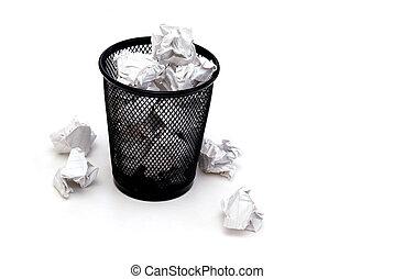 Scrap Paper - A bin full of crumpled pieces of paper.