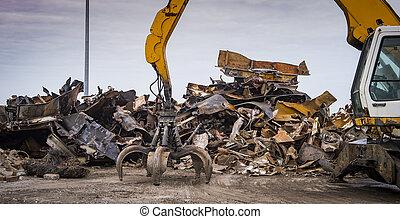 Scrap recycling plant, Crane grabber