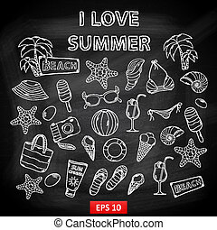 Scrap set I love summer on blackboard
