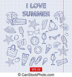 Scrap set I love summer on the notebook sheet