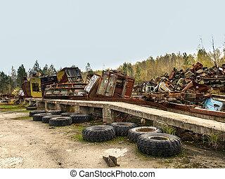 Scrap yard close to Chernobyl, 2016