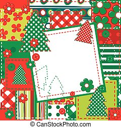 Scrapbook background for Christmas with sewed elements and...