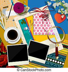 Scrapbook background - Abstract art illustration, scrapbook...