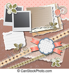 Scrapbook background with polaroid in retro stile, vector...