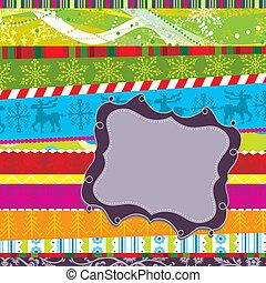 Scrapbook christmas patterns, vector illustration