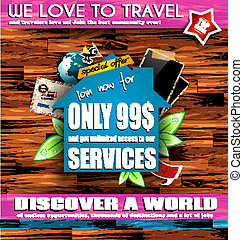 Scrapbook composition for travel or real estate poster...