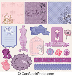 Scrapbook desgin Elements - Retro Fashion Set in vector