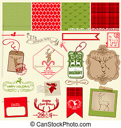 Scrapbook Design Element - Christmas Reindeer Set - frames, tags, labels, silhouettes - in vector