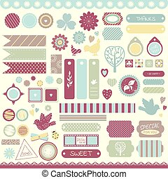 Set of vintage scrapbooking vector elements
