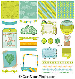 Scrapbook Design Elements - Baby Bear with Airballoon - in vector