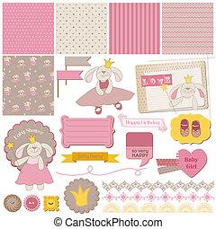 Scrapbook Design Elements - Baby Bunny Girl Set - in vector