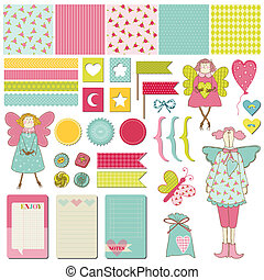 Scrapbook Design Elements - Baby, Birthday, Party Set - in vector