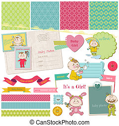 Scrapbook Design Elements - Baby Girl Shower Set - in vector