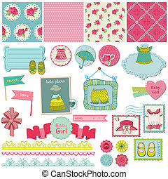 Scrapbook Design Elements - Baby Girl Set - in vector