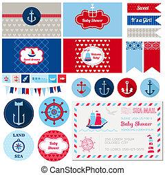 Scrapbook Design Elements - Baby Shower Nautical Theme - in...