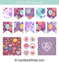 Scrapbook Design Elements. Birthday, baby shower, party design. Seamless pattern with balloons and happy birthday card. Purple pink blue orange background. Vector
