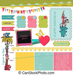 Scrapbook Design Elements - Birthday Baby Set - in vector