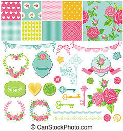 Scrapbook Design Elements - Floral Shabby Chic Theme - in...