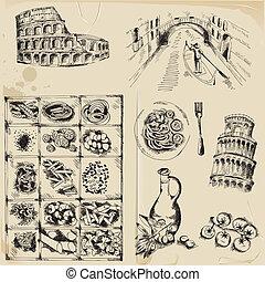 Scrapbook Design Elements - hand drawn Italy set  - in vector