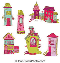 Scrapbook Design Elements - Little Houses Doodles - in vector