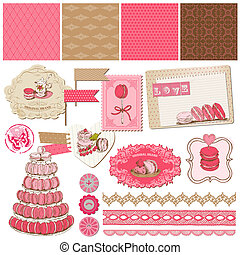 Scrapbook Design Elements - Macaroons and Dessert Collection - in vector