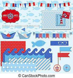 Scrapbook Design Elements - Nautical Sea Theme - for...