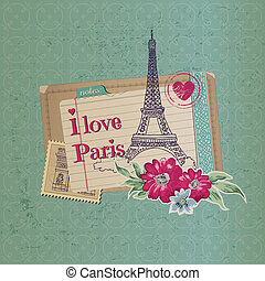 Scrapbook Design Elements - Paris Vintage Card with Stamps - in vector