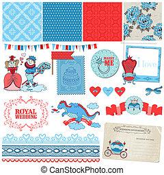 Scrapbook Design Elements -Princess and Prince Wedding Vintage Set - in vector