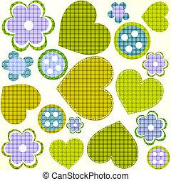 scrapbook design elements set: frames, heart, buttons, flowers