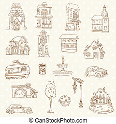 Scrapbook Design Elements - Small Town Doodles - in vector