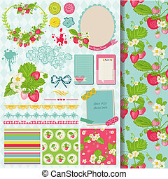 Scrapbook Design Elements - Strawberry Shabby Chic Theme - in vector