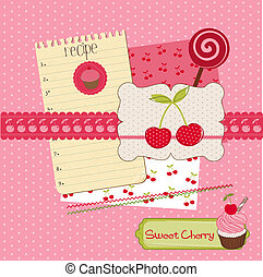 Scrapbook design elements - Sweet Cherry and Desserts in vector