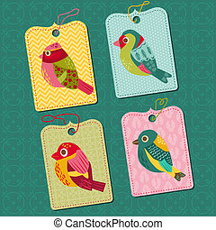 Scrapbook Design elements - Tags with Birds - for design, baby scrapbook - in vector