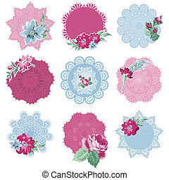 Scrapbook Design Elements - Tags with Flowers - in vector