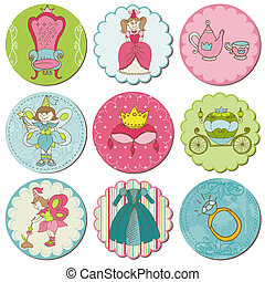 Scrapbook Design Elements - Tags with Princess Elements in vector