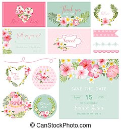 Scrapbook Design Elements - Tropical Flower Theme - in vector
