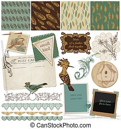 Scrapbook Design Elements - Vintage Bird Feathers - in...
