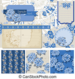 Scrapbook Design Elements - Vintage Blue Flowers - in vector
