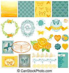 Scrapbook Design Elements - Vintage Ombre Butterflies - in vector