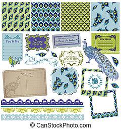 Scrapbook Design Elements - Vintage Peacock Feathers - in...