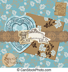 Scrapbook Design Elements - Vintage Flower Wallpapers and Vintage Elements in vector