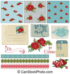 Scrapbook Design Elements - Vintage Flowers in vector