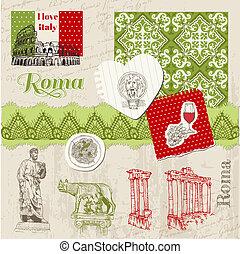 Scrapbook Design Elements - Vintage Italy doodle Set - hand...