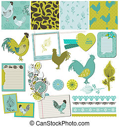 Scrapbook Design Elements - Vintage Rooster and Flowers - in vector