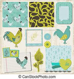 Scrapbook Design Elements - Vintage Rooster and Flowers - in vector